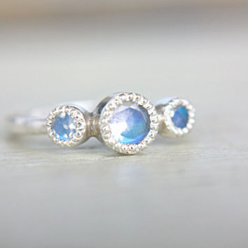 Moonstone Engagement Ring Vintage Inspired Engagement Ring Rainbow Moonstone Ring Sterling Silver Milgrain Promise Ring June Birthstone