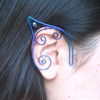 Blue & Purple Handmade Wire Wrapped Hematite Elf Ear Cuffs. Wire Weave, Elven Ears, LARP, Fantasy Wedding