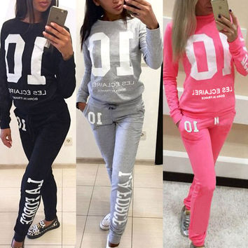Fashion Women Sportswear Autumn Winter Printed Letter Tracksuits Long-sleeve Casual Suit Costumes Mujer 2 Piece Set