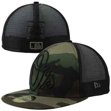 New Era Baltimore Orioles 59FIFTY Woodland Camo Mesh Fitted Hat - Camo/Black