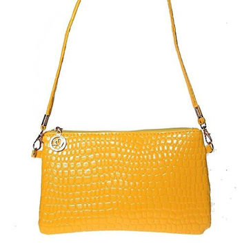 Bright Yellow Womens or Girls Small Clutch/ Shoulder Bag , Purse with Zipper