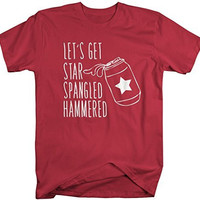 Shirts By Sarah Men's Patriotic 4th July T-Shirt Star Spangled Hammered Can Shirts