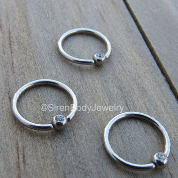 "Daith piercing hoop cz gemstone fixed bead ring stainless steel conch septum piercing earring body jewelry hoops 3/8"" annealed easy bend 1"