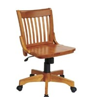 OSP Designs Deluxe Finish Armless Wood Bankers Desk Chair with Wood Seat, Fruit Wood