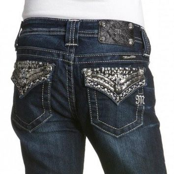 Miss Me Girls Bison Bling Boot Cut Denim Jeans (sz. 10, 12)