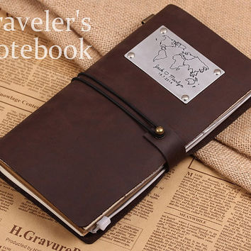 Vintage Leather Journal Note Cover - Personalized Map Leather Notebook - Handmade Travellers Notebook