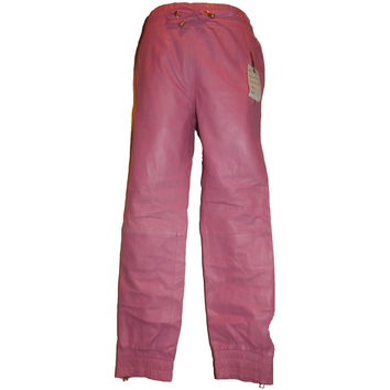 Mens Leather Joggers Pastel Pink Sweat Pants Relaxed Fit Smooth Nappa Sheepskin Red Liner
