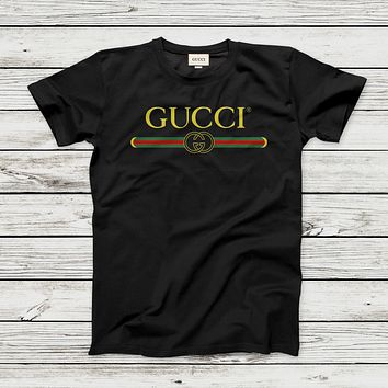 GUCCI Summer Classic Fashionable Couple Casual T-Shirt Top White I/A