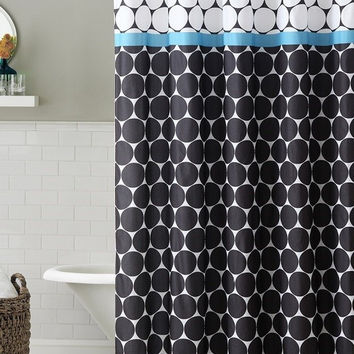 "Lucky Blue Embossed Microfiber Shower Curtain 72""x 72"""