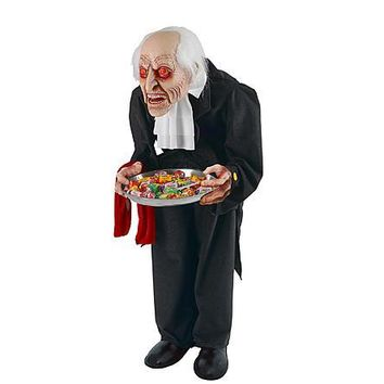 "Halloween Indoor/Outdoor Decor Decoration 36"" Animated Bobble Head Butler with Sound and Lights"