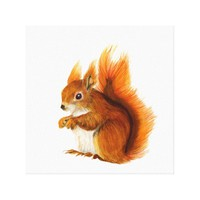 Red Squirrel Watercolour Painting Artwork Print