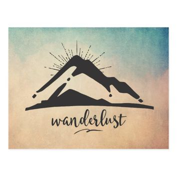 Mountain with Sunrays - Wanderlust Typography Postcard