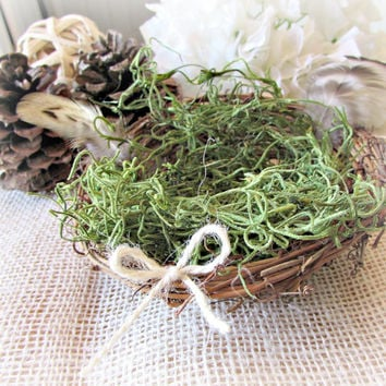 Mini Birds Nest, Twig Birds Nest with Real Bird Feathers Moss, Farmhouse Country Rustic Wedding Decor, Table Centerpiece, Floral Arrangement