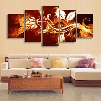 5 Panel Fire Flowers Picture Framework Living Room Canvas Panel Wall Art