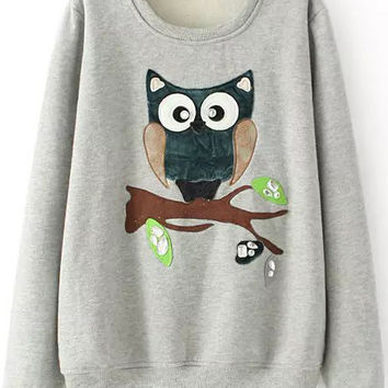 Grey Owl Print Rhinestone Long Sleeve Sweatshirt