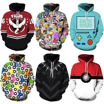 Deadpool Dead pool Taco 026 Adventure time Poke Ball Pokemon  Printed Women Jacket Hooded Femme Sweatshirt Casual Loose Men Pocket Hoodies Coat AT_70_6