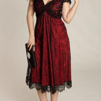 Red Flowers Lace A-line Cap Sleeve Plus Size Homecoming Maxi Dress