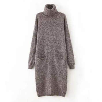 Turtle-Neck Long-Sleeve Khitted Dress