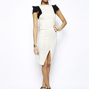 Vesper Pencil Dress with Contrast Sleeves - Cream