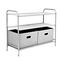 Closet Storage Organizer, MaidMAX Clothes Organizer Collection with 3 Tier Shelves and 2 Collapsible Drawers for Christmas Gift