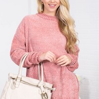 Charlotte Ribbed Chenille Sweater | Pink