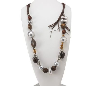 """Brown Silver Multi Wood Lucite and Faux Suede 35"""" Long Chunky Statement Necklace"""