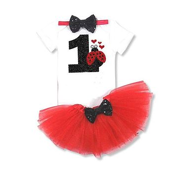 3PC Little Girl's Birthday Outfit White Bodysuit #1 Ladybug Red Tutu and Matching Headband