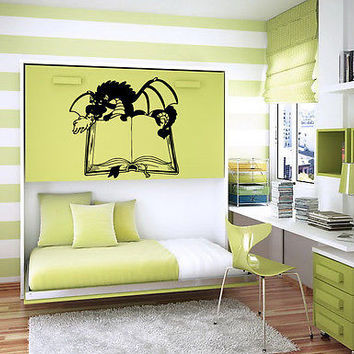 DRAGON WITH BOOK BABY ROOM NURSERY WALL STICKER ART MURAL B1057