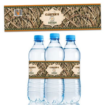 Personalized Camo Water Bottle Labels - Camouflage Birthday Party Favors - Hunter Party Favors - Boy Birthday Party - Water Labels