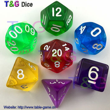 New Arrivals 7pcs/lot D4 D6 D8 D10 D12 D20 Plastic Poly Clear Dice DnD game dice MTG Magic the Gathering Dice Game Set