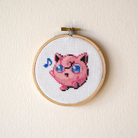Framed Jigglypuff Cross Stitch | Pokemon Inspired Framed Needlepoint | Finished 4x4 Video Game Cross Stitch | 4 inch Wooden Embroidery Hoop