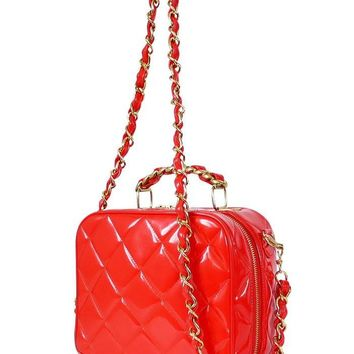 Chanel Red Patent 2way Lunch Box Cross Body Bag Rare