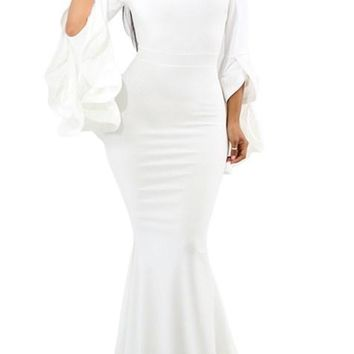 White Off Shoulder Pleated Bell Sleeves Party Evening Maxi Dresses