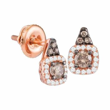 14kt Rose Gold Women's Round Cognac-brown Color Enhanced Diamond Solitaire Square Frame Earrings 3-8 Cttw - FREE Shipping (USA/CAN)