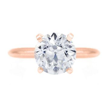 Old European Cut (OEC) Round Moissanite 14K Rose Gold 6 Prongs Solitaire Ring