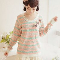 Kawaii Lolita Stripes Round Collar Sweater - Dark or Light from Tobi's Finds