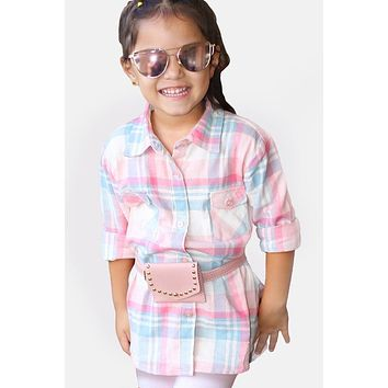Fall Back To School Girl's Plaid Flannel Shirt w/ Double  Pockets