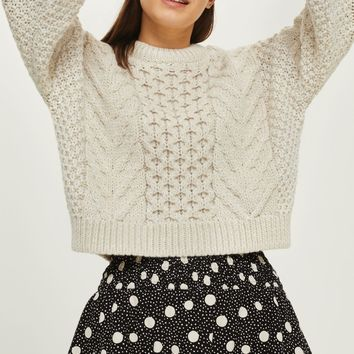 Blouson Cropped Cable Sweater