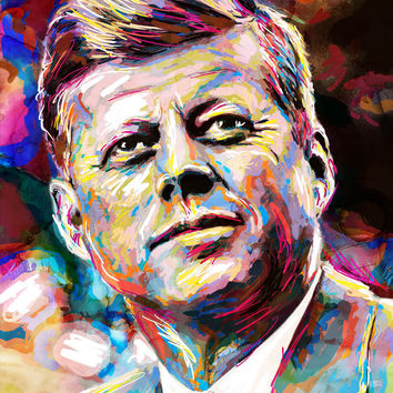 John F Kennedy Art Print, JFK Canvas, President painting