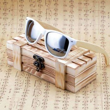 Bobo Bird Womens Mens Bamboo Wooden Sunglasses White Frame Eyewear With Coating Mirrored Uv 400
