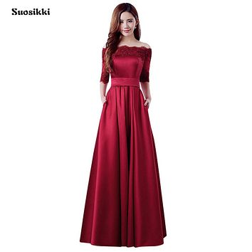 2017 New Wine Red Lace Embroidery Luxury Satin Half Sleeved Long Evening Dress Bride Elegant Banquet Prom Dress Robe De Soiree 9