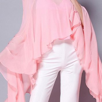 Hollywood Dreams Long Batwing Sleeves Ruffle Chiffon Boat Neck Blouse Top - 3 Colors Available