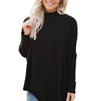Women Casual Soft Faux Poncho High Neck Pullover Long Sleeve