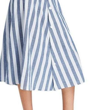 Waist Button Front Striped Skirt Vintage A Line Vertical Striped Skirt Blue High Waist Skirt