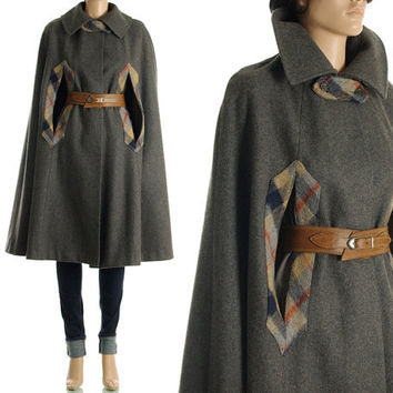Vintage 70s Swing Cape - Gray Wool Plaid Draped Princess Cape Coat - S / M / L