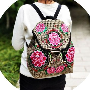 ESBONMI Embroidered canvas bag lady s backpack the student s backpack.