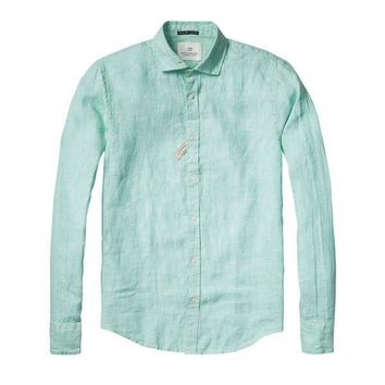 Turquoise Linen Button-Up Shirt by Scotch & Soda