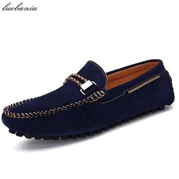 Natural Suede Moccasins Men Boat Shoes Handmade Brand Men Shoes Casual Slip On Men Dri