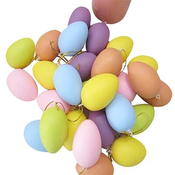 12 PCS Children Painting Egg Toy With Rope Gifts Plastic Hanging Easter Arts Crafts DIY Toys Funny Gadgets Kid Birthday Gift MM4