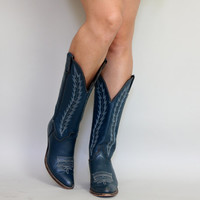 Vintage BLUE COWBOY BOOTS | 1980s Abelene Tall Cowgirl Boots | size 7.5 / 37.5